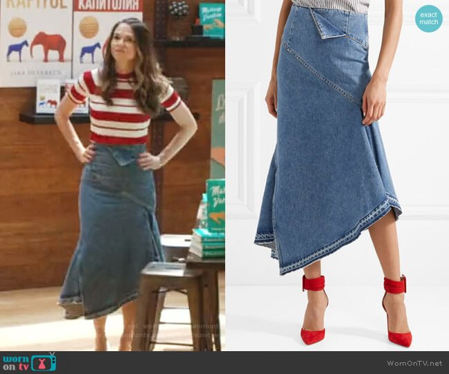 Asymmetric Denim Midi Skirt by Monse worn by Sutton Foster on Younger