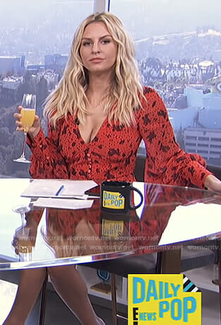 Morgan's red floral romper on E! News Daily Pop