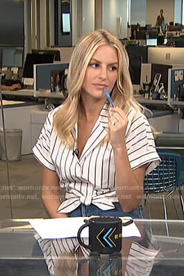 Morgan's striped tie front crop top on Live from E!