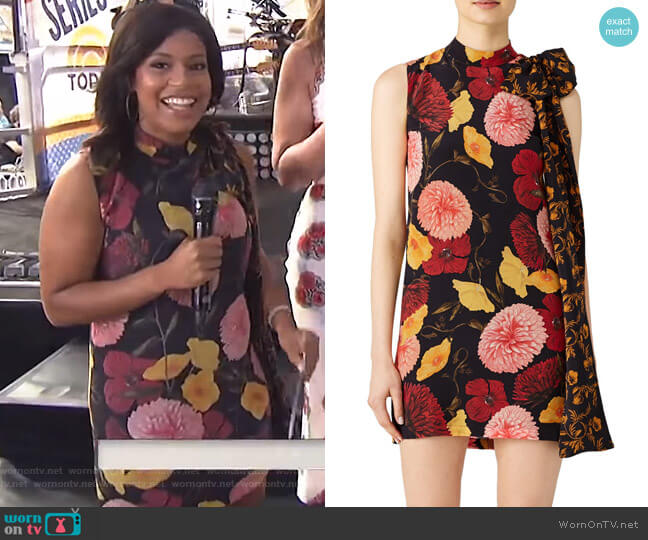Tie Detail Floral Dress by Mother of Pearl worn by Sheinelle Jones on Today