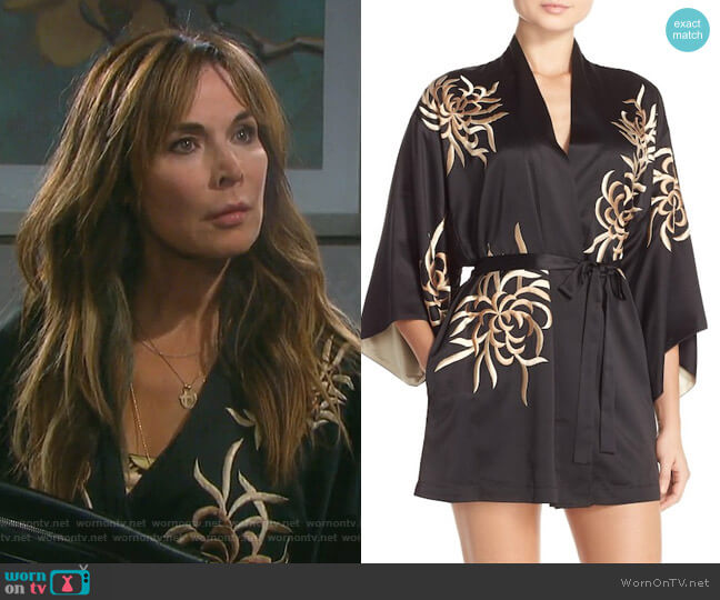 'Empress' Embroidered Charmeuse Robe by Natori worn by Lauren Koslow on Days of our Lives