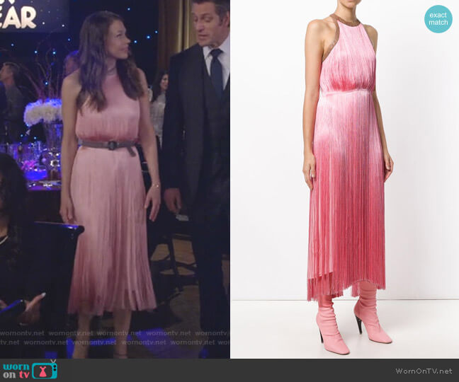 Sleeveless Fringed Dress by Nina Ricci worn by Sutton Foster on Younger