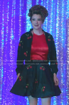 0c2fb712219 WornOnTV  Nonnie s black cherry embellished jacket and skirt on Insatiable
