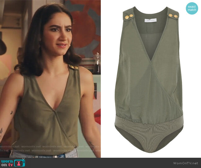Wrap-effect button-detailed crepe de chine bodysuit by Pierre Balmain worn by Adena El-Amin (Nikohl Boosheri) on The Bold Type