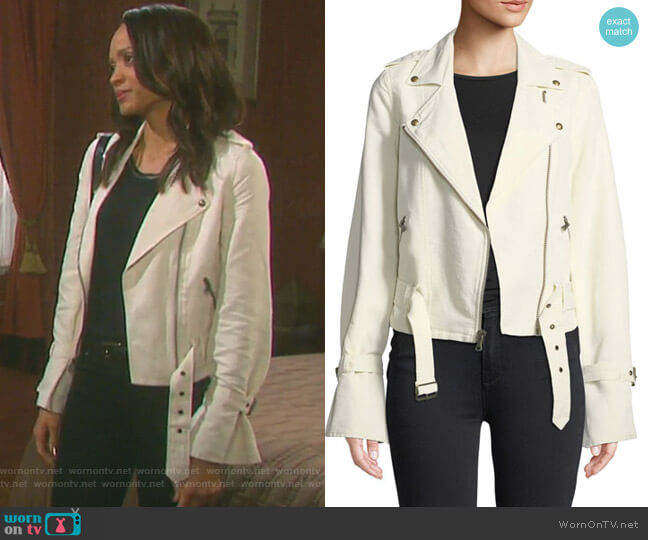 Rhoda Moto Jacket by Paige worn by Lani Price (Sal Stowers) on Days of our Lives