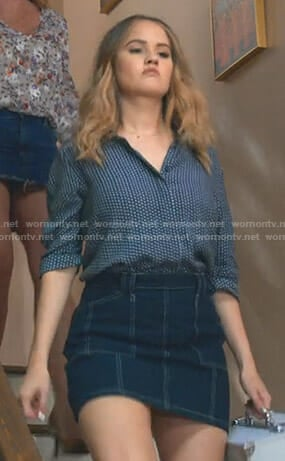 Patty's polka dot shirt and denim mini skirt on Insatiable