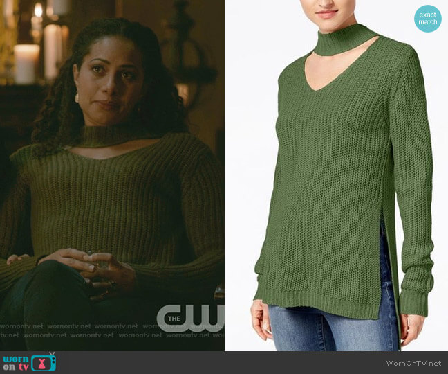 Juniors' Cutout Turtleneck Sweater by Planet Gold worn by Christina Marie Moses on The Originals
