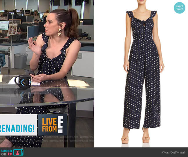 Polka Dot Wide-Leg Jumpsuit by Lucy Paris worn by Melanie Bromley  on E! News