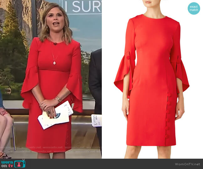 Buttoned Flutter Sheath Dress by Prabal Gurung worn by Jenna Bush Hager  on Today