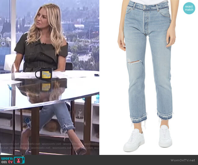 Stove Pipe Released Hem Jeans by Re/Done worn by Morgan Stewart on E! News