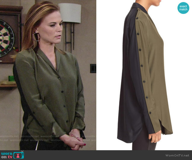 Rag & Bone 'Leighton' Colorblock Silk Shirt worn by Phyllis Newman (Gina Tognoni) on The Young & the Restless