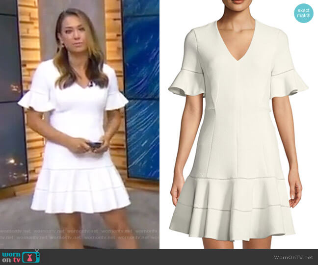 Textured V-Neck Flounce Dress by Rebecca Taylor worn by Ginger Zee on Good Morning America