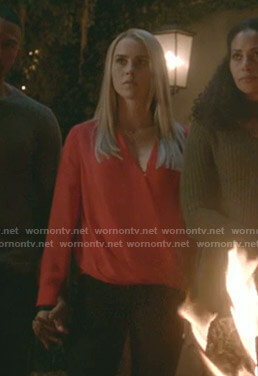 Rebekah's red wrap blouse on The Originals