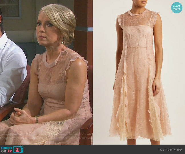 Ruffle-trimmed lace midi dress by RED Valentino worn by Melissa Reeves on Days of our Lives