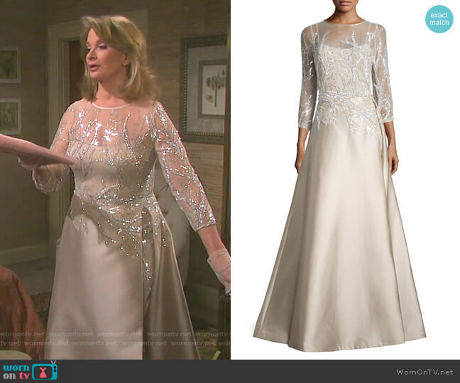 3/4-Sleeve Embellished Ball Gown by Rickie Freeman for Teri Jon worn by Deidre Hall on Days of our Lives