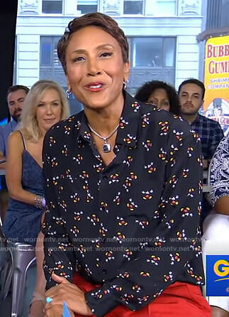 Robin's black Mickey Mouse print shirt on Good Morning America