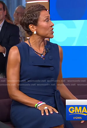 Robin's blue button front dress on Good Morning America