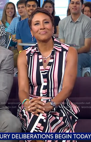 Robin's pink striped shirtdress on Good Morning America