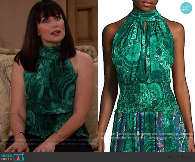 Romance was Born Hallmark Sheer Tie Top worn by Quinn Fuller (Rena Sofer) on The Bold & the Beautiful