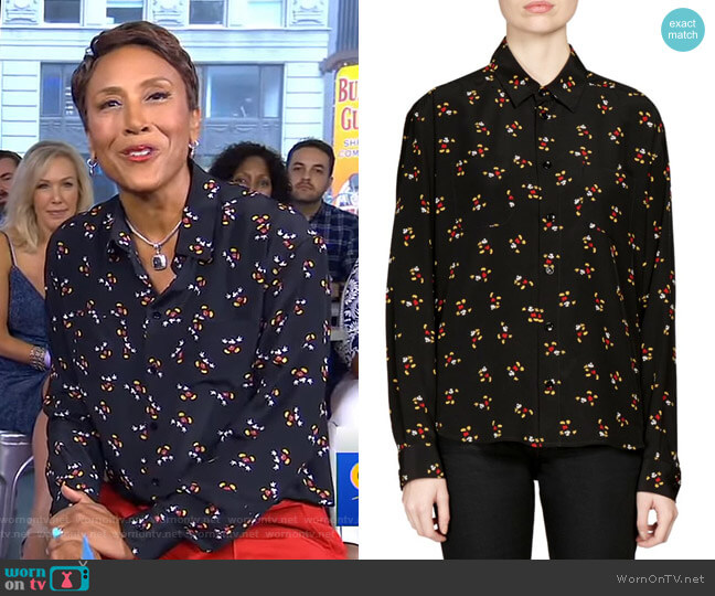 Mickey Mouse Blouse by Saint Laurent worn by Robin Roberts on Good Morning America