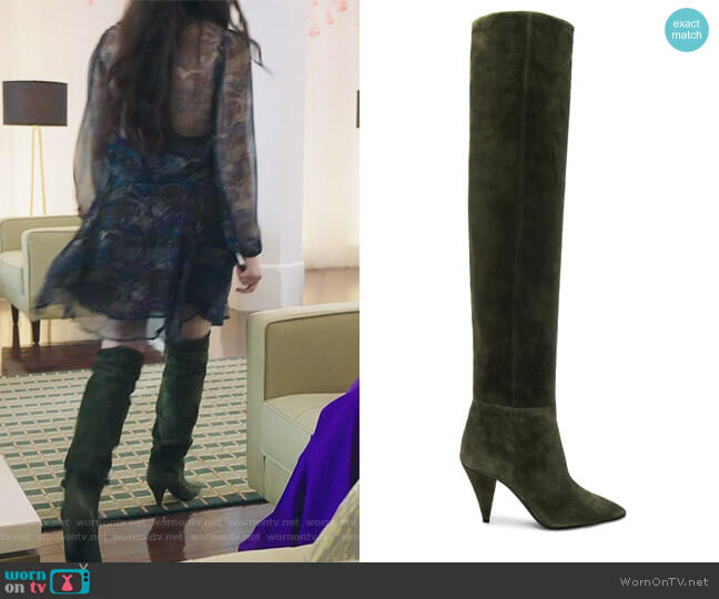 Suede Era Heeled Thigh High Boots by Saint Laurent worn by Jane Sloan (Katie Stevens) on The Bold Type
