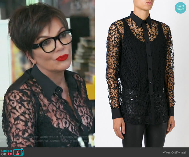 sheer lace shirt by Saint Laurent worn by Kris Jenner  on Keeping Up with the Kardashians