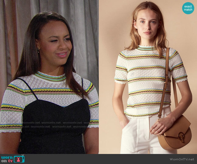 Sandro Fancy Knit Sweater worn by Emma Barber (Nia Sioux) on The Bold & the Beautiful