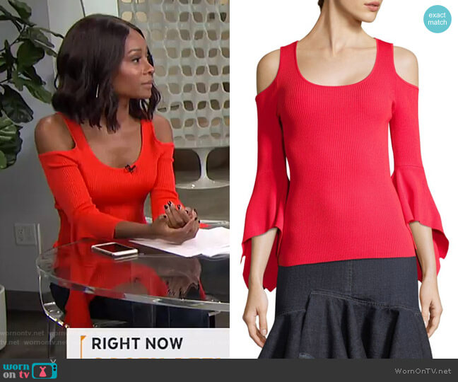Ribbed Cold-Shoulder Bell-Sleeve Sweater by Scripted worn by Zuri Hall on E! News