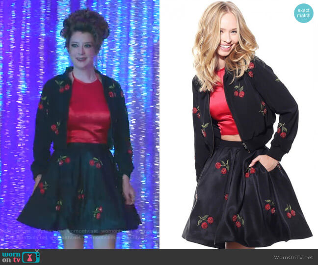 Two Piece Cherry Dress and Jacket by Sherri Hill worn by Kimmy Shields on Insatiable
