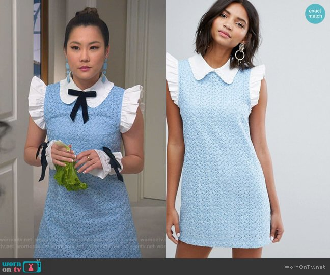 Mini Dress With Collar In Lace by Sister Jane worn by Dixie Sinclair (Irene Choi) on Insatiable
