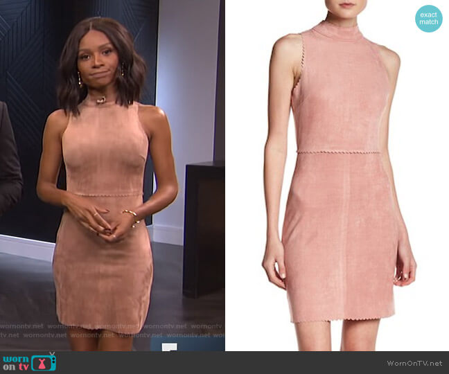 Mock Collar Faux Suede Dress by Soprano worn by Zuri Hall  on E! News