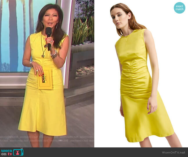 Ruched Gabardine Shift Dress by Sportmax worn by Julie Chen  on The Talk