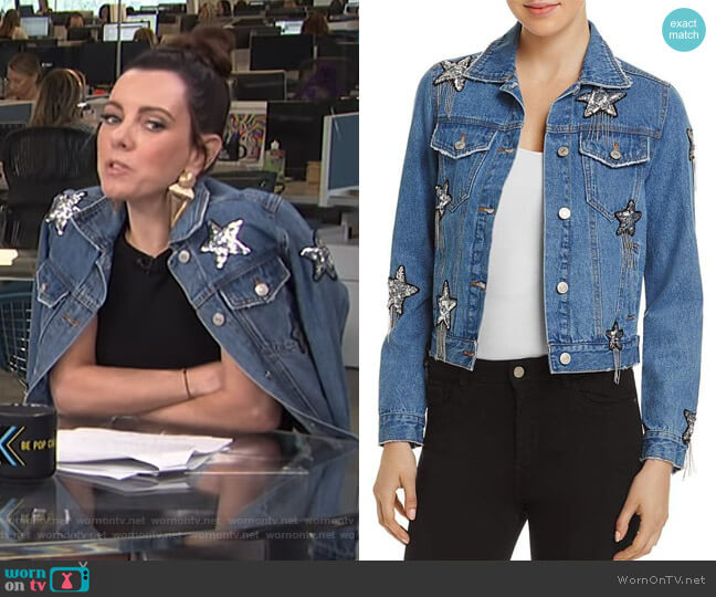 Star Embellished Denim Jacket by Sunset + Spring worn by Melanie Bromley on E! News