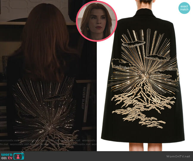 Wool Coat Cape with Volcano Embroidered Back by Stella McCartney worn by Kitty Montgomery (Julianna Margulies) on Dietland