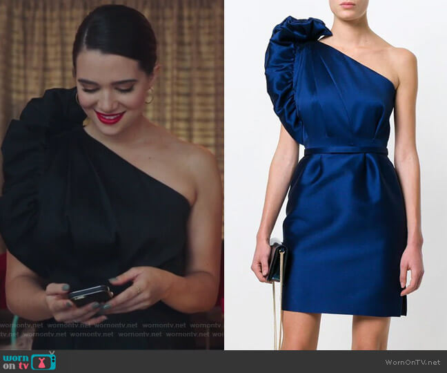 taffeta one-shoulder dress by Stella McCartney worn by Katie Stevens on The Bold Type