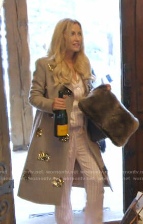 Stephanie's metallic fringe embellished coat on The Real Housewives of Dallas