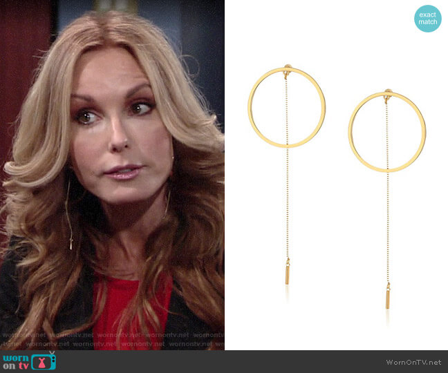 Steve Madden Long Ring with Chain Post Drop Earrings worn by Lauren Fenmore (Tracey Bregman) on The Young & the Restless