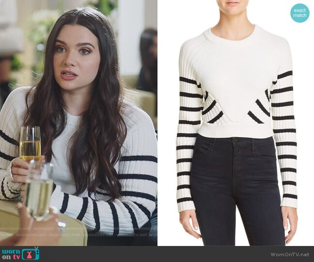 Striped Crop Sweater by T by Alexander Wang worn by Jane Sloan (Katie Stevens) on The Bold Type