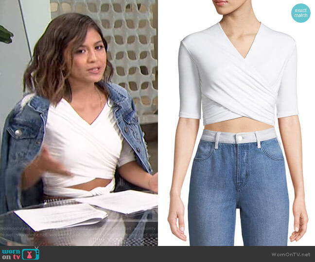 Tie-Back Wrapped Crop Top by T by Alexander Wang worn by Erin Lim on E! News