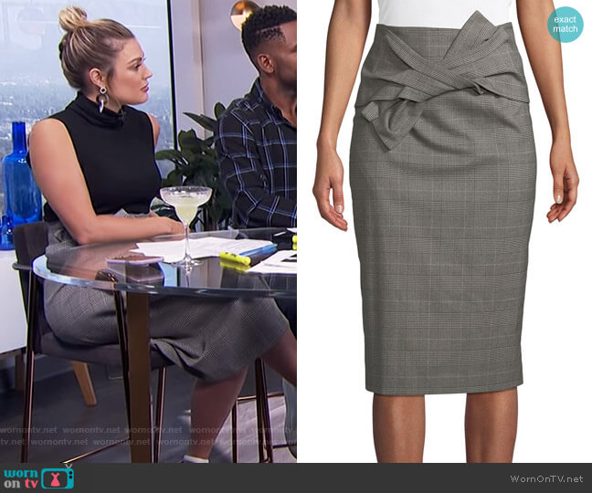 Sky Glen-Check Bow-Waist Midi Skirt by Tahari ASL worn by Carissa Loethen Culiner  on E! News