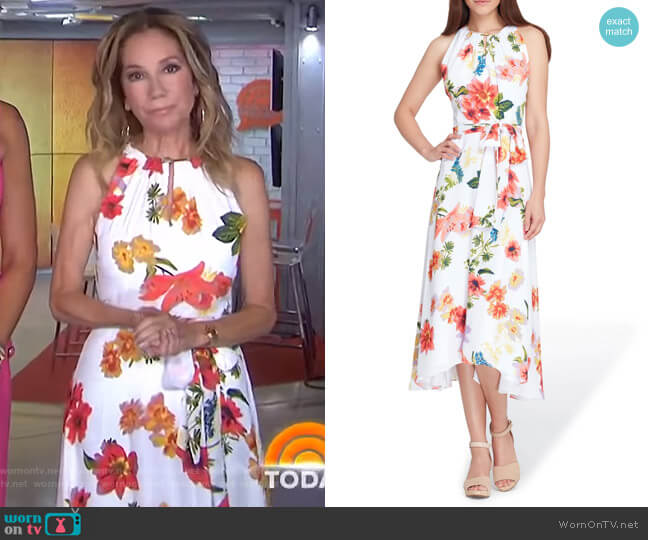 Sleeveless Floral Chiffon Midi Dress by Tahari ASL worn by Kathie Lee Gifford  on Today