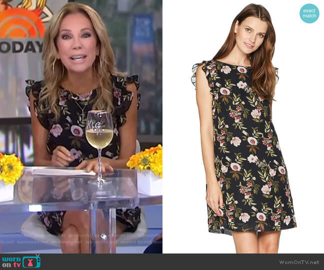 Ruffle Trim Chiffon Floral Dress by Tahari ASL worn by Kathie Lee Gifford  on Today