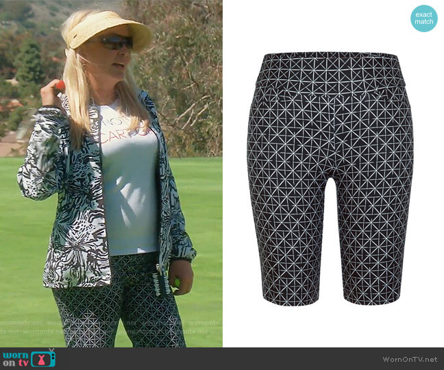 Muligan Gold Shorts by Tail worn by Shannon Beador  on The Real Housewives of Orange County