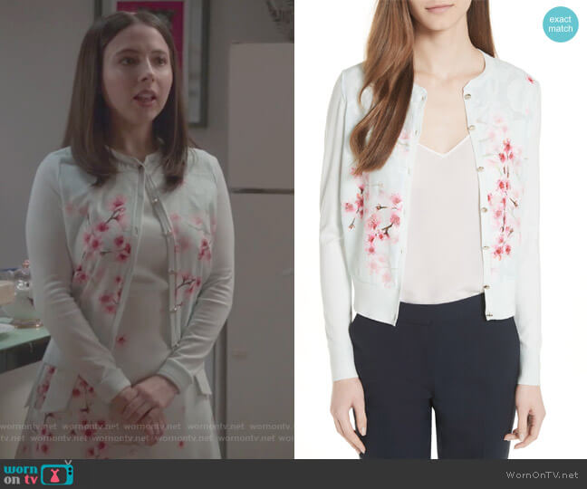 Blossom Woven Front Cardigan by Ted Baker worn by Esther Povitsky on Alone Together