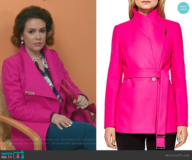 Keyla Coat by Ted Baker worn by Alyssa Milano on Insatiable