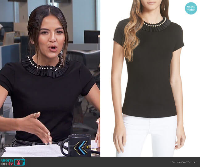 Nickita Imitation Pearl Neck Top by Ted Baker worn by Erin Lim on E! News