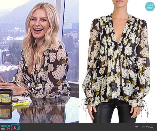 Silk Hortensia-Print Top by The Kooples worn by Morgan Stewart on E! News