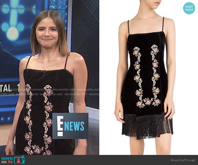 Embroidered Velvet Dress by The Kooples worn by Erin Lim  on E! News