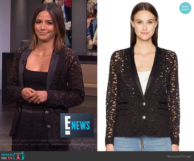 Lace and Satin Jacket by The Kooples worn by Erin Lim on E! News