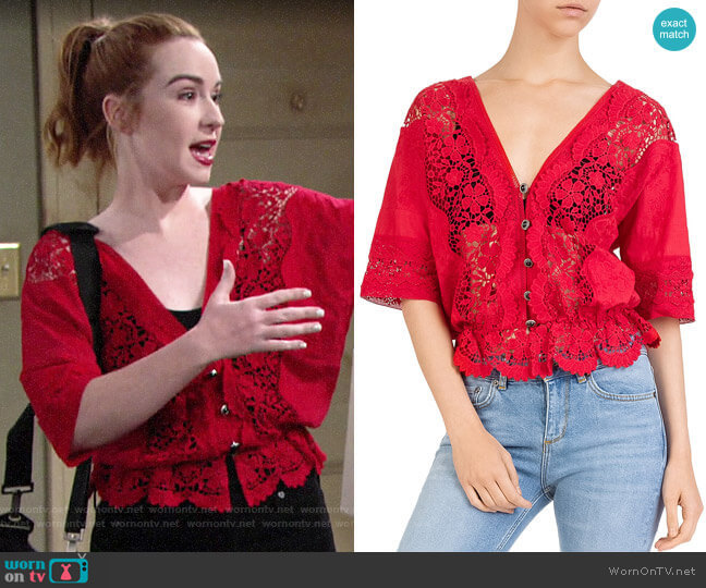 The Kooples Sheer Lace-Inset Cotton Top worn by Mariah Copeland (Camryn Grimes) on The Young & the Restless